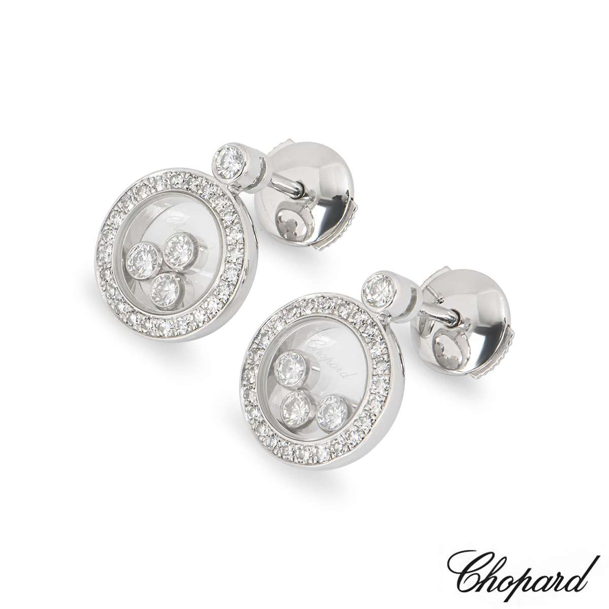 Chopard White Gold Happy Icons Diamond Earrings 83A018-1201